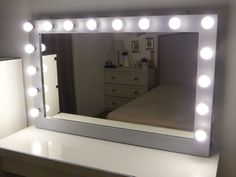 XL Hollywood vanity mirror- 43 x 27'' -makeup mirror with lights-Wall hanging/free standing-Perfect for IKEA Malm vanity -BULBS not included