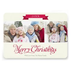 5x7 Merry Christmas Holiday Photo Cards for Two Photos Merry Christmas written in a red script font photo holiday card