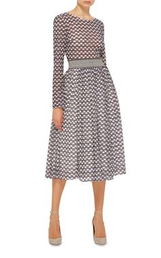 This long sleeve **Tanya Taylor** dress features a checked design rendered in microfloral embroidery, a fitted bodice with a wide gingham waistband, and a gathered midi length circle skirt.