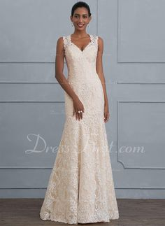 Trumpet/Mermaid V-neck Floor-Length Zipper Up Regular Straps Sleeveless Hall General Plus No Spring Summer Fall Other Colors Lace Height:5.8ft Bust:33in Waist:23.6in Hips:35.4in US 2 / UK 6 / EU 32 Wedding Dress