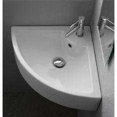 Bathroom Sink, Scarabeo 8007/E, Square White Ceramic Wall Mounted or Vessel Corner Sink 8007/E