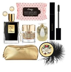 """""""#PolyPresents: Stocking Stuffers"""" by elsa-ebervik on Polyvore featuring beauty, Kilian, Gucci, Victoria's Secret, Rodo, The Body Shop, Bloomingdale's, contestentry and polyPresents"""