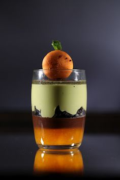Hans Ovando Pastry Chef -  A spectacular Glass with Green Tea, Guanaja & Mango (email for recipe)