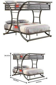 Coaster Home Furnishings 460078 Bunk Bed, Gunmetal - Welded Furniture, Iron Furniture, Steel Furniture, Home Decor Furniture, Home Decor Bedroom, Bedroom Furniture, Furniture Design, Loft Bunk Beds, Metal Bunk Beds