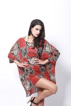 1b473483a4c78 Online Shop Bohemian Style Batwing Vintage Red Tiger Print Casual Chiffon  Women Summer Blouse Plus Size Vestidos