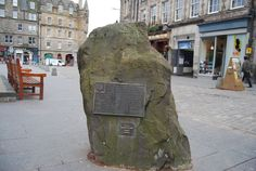 Rock, Grassmarket        Placed here in 1977 to celebrate 500 years since Edinburgh's markets were re-organised by James III.