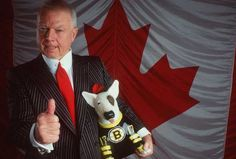 """Canadian flag, Don Cherry and """"Blue"""" in a Boston jersey - it doesn't get any better than that!"""