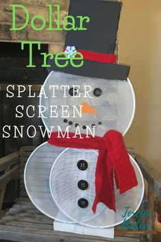 Dollar Tree Splatter Screen Snowman - - Seems that I have become addicted to splatter screen crafts, I have so many ideas going through my head on what I can make. For now, I want you to check out my Dollar Tree Splatter Screen Snowman, isn't he cute? Snowman Christmas Decorations, Dollar Tree Christmas, Dollar Tree Crafts, Snowman Crafts, Christmas Snowman, Christmas Projects, Holiday Crafts, Christmas Ideas, Snowman Tree