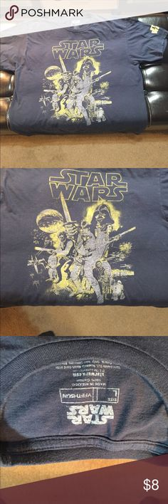 Starwars T Men's Navy Preloved factory distressed Star Wars T shirt. Size Large. Worn for a birthday party for my little nephew Star Wars theme party. Shirts Tees - Short Sleeve