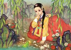 Beloved Fairy Tales Re-imagined in an East Asian Style by Korean artist Na Young Wu. The Princess and The Frog Art And Illustration, Korean Illustration, Disney Illustration, Cartoon Illustrations, Character Illustration, Heros Disney, Disney Art, Disney Characters, Fairytale Characters