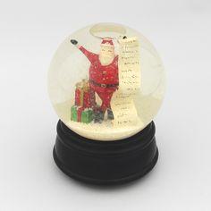 Here Comes Santa Claus - Vintage Musical Glass Christmas Snow Globe Figurine