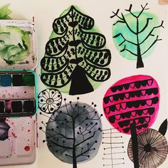 Scandi Trees in CONTAINED watercolor shapes for both #artmarks30daychallenge and for my #folk project. #365project #folkprojectpdn #pazandshazcreativeexplorations2017 #textiles #midcentury #floralmotif #trees #lisacongdonclass #lisacongdonsessions #watercolor #lisacongdon #calledtobecreative #creativityfound #createeveryday #makersgonnamake #carveouttimeforart #arttherapy #creative #instaartist #artstagram #dailyart