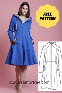 Dress Sewing Patterns, Sewing Patterns Free, Free Sewing, Clothing Patterns, Sewing Tutorials, Sewing Projects, Sewing Coat, Sewing Clothes, Diy Clothing
