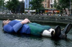 "Lemuel Gulliver floating in the Liffey!!! Dublin City celebrated its Millennium in 1988. Various events were held throughout the year to commemorate the Millennium. One of the more noteable, was a colourful re-enactement street theatre style, of ""Gullivers Travels"" Gulliver as the principial character in Jonathan Swift satirical work."