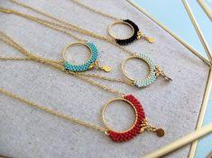 Round necklace pendant miyuki stitched gold by MyFrenchTouchBijoux