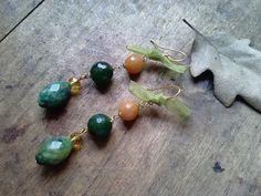 Semi precious gemstone earrings with green agate, mokaite and Bohemia crystal
