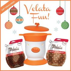 Looking for a little Velata Fun for Christmas? This option is perfect! A Warmer, lid and 2 premium chocolates is the recipe for a good time and a great gift!!