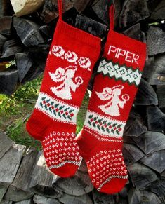 "NEW! Knit Christmas Stockings ~24""or 26"" Personalized Wool Green Red White Gingerbread Boy Rocking Horse Santa Hat Heart Angel Santa Penguin"