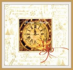 TWO Paper napkins for DECOUPAGE – Christmas Champagne and Clock C090