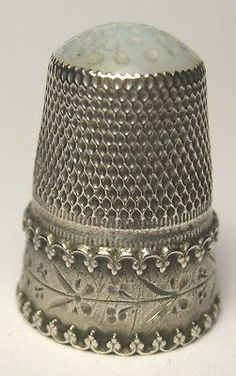 SILVER-Thimble-with-WHITE-STONE-TOP-Unmarked /  20 Jul, 2014 / US $47.55