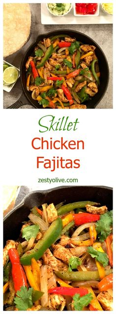 Skillet Chicken Fajitas * Zesty Olive - Simple, Tasty, and Healthy Recipes Yummy Chicken Recipes, Yum Yum Chicken, Healthy Dinner Recipes, Mexican Food Recipes, Cooking Recipes, Spanish Recipes, Easy Recipes, Easy Skillet Meals, Quick Meals
