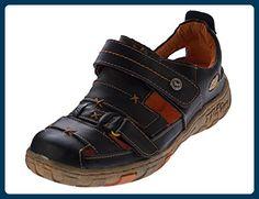 Damen Leder Sandalen Klettverschluss Halbschuhe Schwarz Schuhe Sandaletten Gr. 39 - Mary jane halbschuhe (*Partner-Link)
