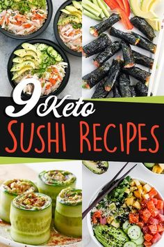 These easy and delicious Keto Sushi recipes are perfect to satisfy your sushi cravings. From regular no nice rolls to keto sushi bowls. Healthy Low Carb Recipes, Low Carb Dinner Recipes, Healthy Eating Tips, Diet Recipes, Keto Recipes With Bacon, Keto Dinner, Eating Habits, Healthy Meals, Low Carb Sushi