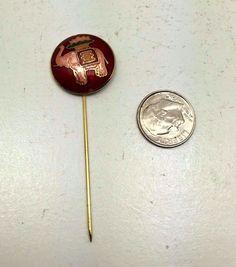 Rare Vintage Estate Boho Bohemian Gold Tone Cloisonne Enamel Elephant Stick Pin
