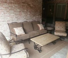 patio renaissance monticello sectional with tiki torches from