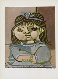 "Pablo Picasso, ""Toile"" Girl, Lithograph,  1951 Verve, Fine Art, Free Shipping #Surrealism"