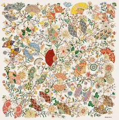 Foulard en soie Hermes « Fleurs et papillons de tissus », dessiné par Christine Henry.