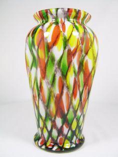 RARE Czech Art Deco Glass Vase Spatter Red Green Yellow Kralik Ruckl Welz era
