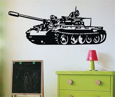 Military Army Weapon Panzer Tank Wall Decals Child Kids Room Wall Stickers Decor #Budgettank #Modern