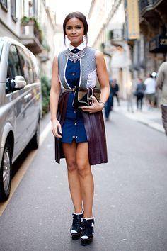 Street Style Spring 2013: Milan Fashion Week Miroslava Duma dons Proenza Schouler.