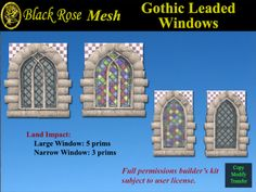 Black Rose Leaded and Stained Gothic Windows