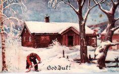 Julekort P Lillo-Stenberg (Oppi st. Scandinavian Christmas, Vintage Postcards, Vintage Christmas, Watercolor Art, Decoupage, Auction, House Styles, Painting, Decor