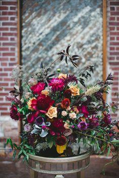 The Engine Room Wedding Inspiration - Monroe, Georgia Wedding - Izzy Hudgins Photography Berry Wedding, Fall Wedding Flowers, Fall Flowers, Floral Wedding, Wedding Colors, Wedding Bouquets, Church Flowers, Flower Centerpieces, Flower Decorations