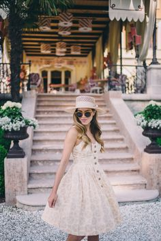 Gal Meets Glam Mornings on Lake Garda - Anthropologie dress, Preston & Olivia hat, and Illesteva sunglasses