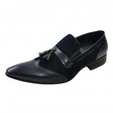 PARTIAL SUEDE SLIP ON DRESS SHOES