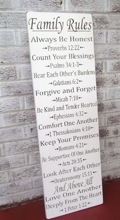 Bible scripture art FAMILY RULES sign Always be by AndTheSignSays