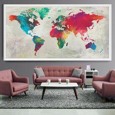 Pared arte mundo mapa imprimir mapa cartel mapa por FineArtCenter