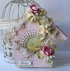 Birdhouse by Dorota_mk Bird Houses Painted, Shabby Chic Cards, Scrapbook Paper Crafts, Scrapbooking, Beautiful Handmade Cards, Bird Cards, Animal Cards, Card Making Inspiration, Card Tags