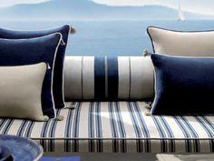 Pinner: Blue and white from Loro Piana Interiors. Perfect for a beach house Sailboat Decor, Sailboat Interior, Sailboat Living, Sailboat Yacht, Sailing Catamaran, Yacht Design, Boat Design, Boot Dekor, Nantucket