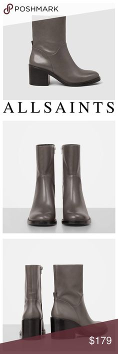 Macarthur Chain Leather Boots Brand new in Box, Allsaints Macarthur Ankle Boots in Dark Grey Leather. Super chic, wear with everything. Great neutral grey color. These will Be your new go to Boots! Retail $450. All Saints Shoes Ankle Boots & Booties