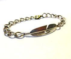 Cool Mens Chain Bracelet Mens Feather Bracelet Mens by YoursTrulli