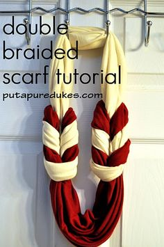 Up Your Dukes: double braided scarf tutorial the DOUBLE braid scarf tutorial. yes its mine. i have no shame.the DOUBLE braid scarf tutorial. yes its mine. i have no shame. Fabric Crafts, Sewing Crafts, Sewing Projects, Diy Crafts, Diy Projects, Braided Scarf, Loop Scarf, Fringe Scarf, Circle Scarf