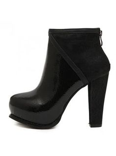 Sexy Black Snake Pattern Chunky Heel Ankle Boots