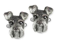 Sterling Silver Handmade Schnauzer Cufflinks Dog Jewelry SHM-CL