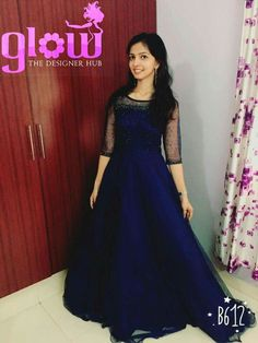 69 Ideas skirt and crop top indian navy blue Long Gown Dress, Frock Dress, Long Frock, Long Dresses, Long Dress Design, Dress Neck Designs, Frock Fashion, Fashion Dresses, Fasion
