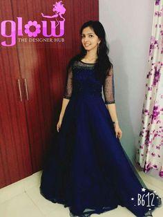 69 Ideas skirt and crop top indian navy blue Long Dress Design, Dress Neck Designs, Long Gown Dress, Frock Dress, Indian Gowns Dresses, Indian Fashion Dresses, Kurta Designs, Party Frock Designs, Navy Blue Gown